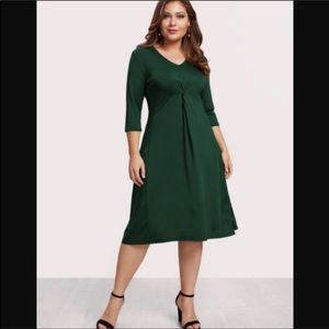 Plus size fit and Flare Midi Dress olive green